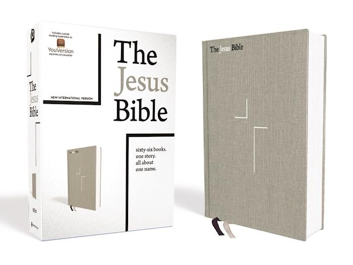 NIV The Jesus Bible (Comfort Print)-Gray Linen Cloth Over Board | SHOPtheWORD
