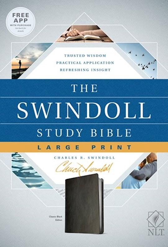 NLT Swindoll Study Bible/Large Print-Classic Black LeatherLike | SHOPtheWORD