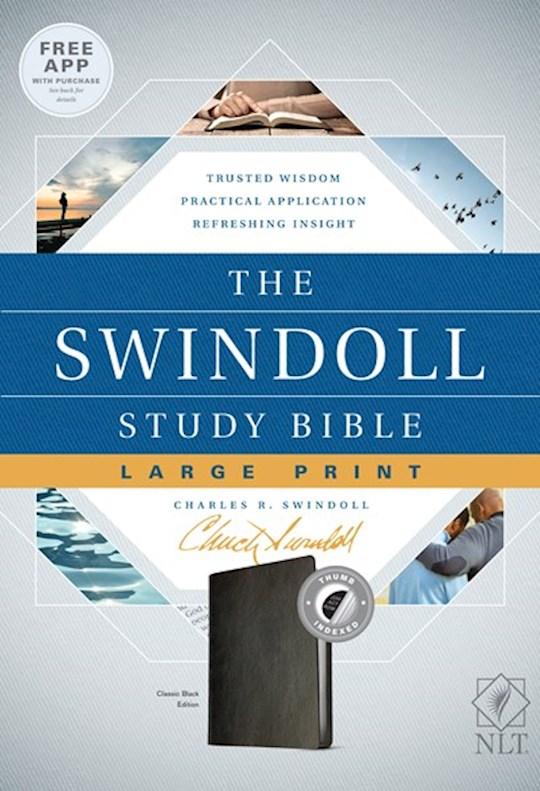 NLT Swindoll Study Bible/Large Print-Classic Black LeatherLike Indexed | SHOPtheWORD
