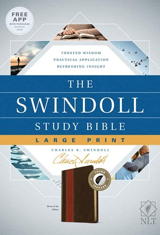 NLT Swindoll Study Bible/Large Print-Brown/Tan LeatherLike Indexed | SHOPtheWORD