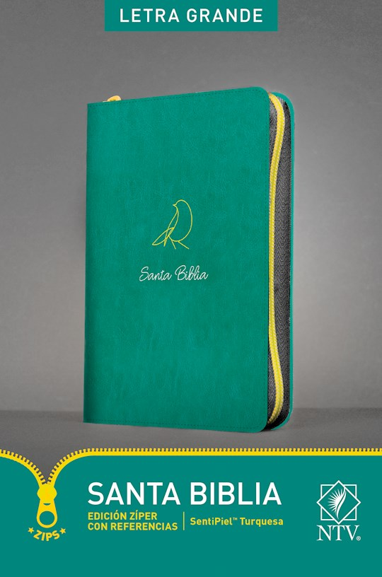 Span-NTV Bible-Large Print Zipper Edition With References-Teal LeatherLike | SHOPtheWORD