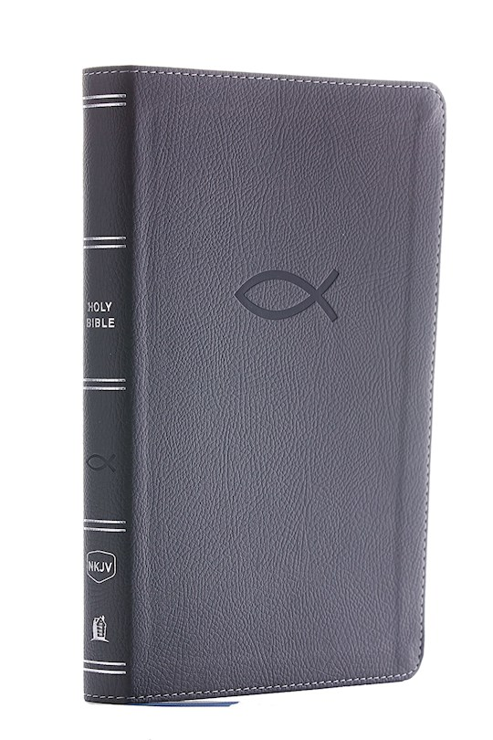 NKJV Thinline Bible/Youth Edition (Comfort Print)-Gray Leathersoft | SHOPtheWORD
