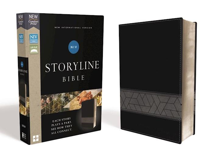 NIV Storyline Bible (Comfort Print)-Black Leathersoft | SHOPtheWORD