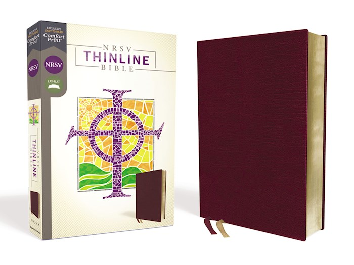 NRSV Thinline Bible (Comfort Print)-Burgundy Bonded Leather | SHOPtheWORD