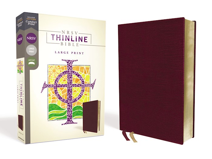 NRSV Thinline Bible/Large Print (Comfort Print)-Burgundy Bonded Leather | SHOPtheWORD