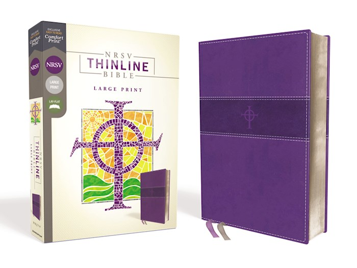 NRSV Thinline Bible/Large Print (Comfort Print)-Purple Leathersoft | SHOPtheWORD