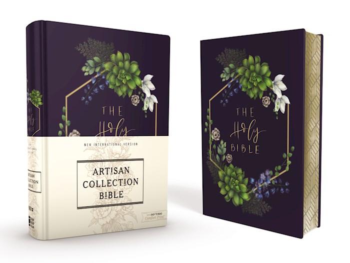 NIV Artisan Collection Bible (Comfort Print)-Navy Floral Cloth Over Board  | SHOPtheWORD