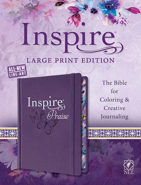 NLT Inspire Praise Bible/Large Print-Purple Hardcover | SHOPtheWORD