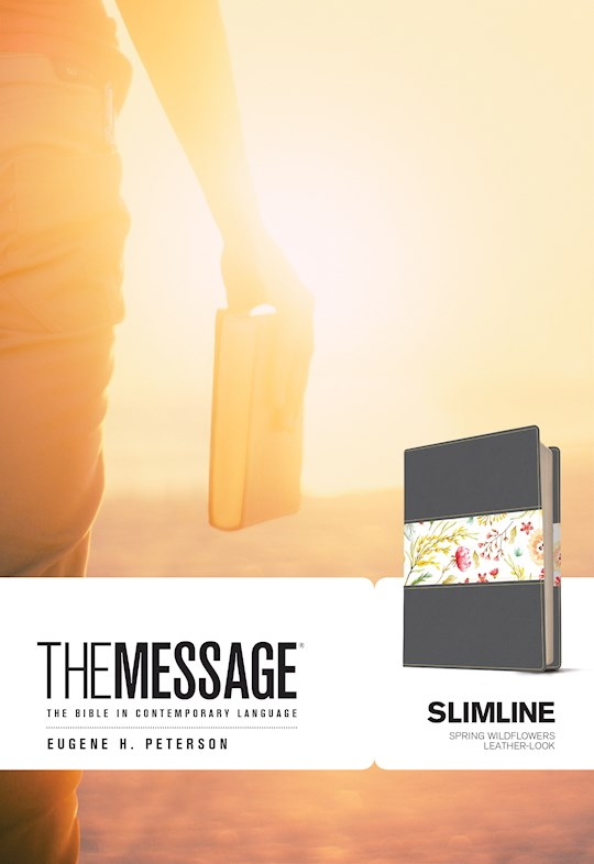 The Message Slimline Bible-Black/Spring Wildflowers LeatherLook | SHOPtheWORD