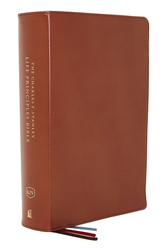 KJV Charles F. Stanley Life Principles Bible (2nd Edition) (Comfort Print)-Brown Genuine Leather Indexed | SHOPtheWORD