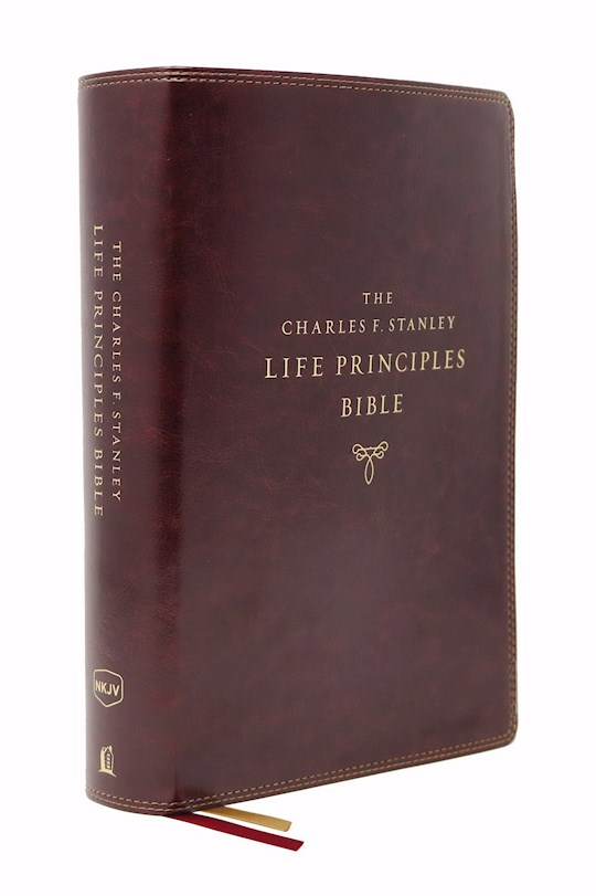 NKJV Charles F. Stanley Life Principles Bible (2nd Edition) (Comfort Print)-Burgundy Leathersoft Indexed | SHOPtheWORD