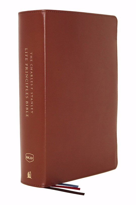 NKJV Charles F. Stanley Life Principles Bible (2nd Edition) (Comfort Print)-Brown Genuine Leather Indexed | SHOPtheWORD