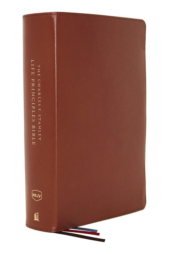 NKJV Charles F. Stanley Life Principles Bible (2nd Edition) (Comfort Print)-Brown Genuine Leather | SHOPtheWORD