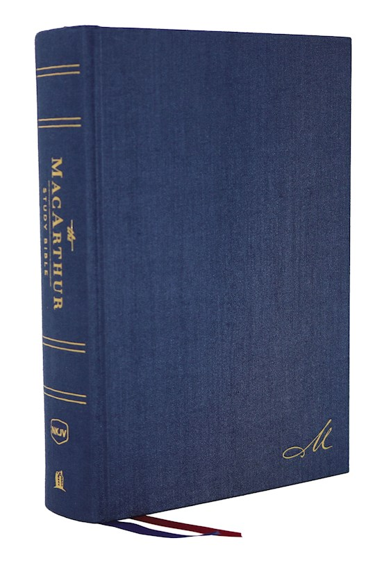 NKJV MacArthur Study Bible (2nd Edition) (Comfort Print)-Navy Blue Hardcover | SHOPtheWORD