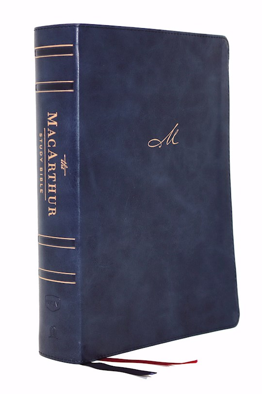 NKJV MacArthur Study Bible (2nd Edition) (Comfort Print)-Navy Blue Leathersoft Indexed | SHOPtheWORD