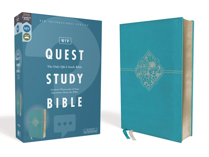 NIV Quest Study Bible (Comfort Print)-Teal Leathersoft | SHOPtheWORD