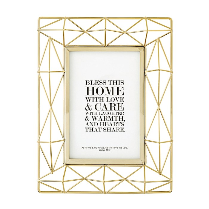 Framed Tabletop-Bless This Home (Josh 24:15)-Geometric Gold (Holds 4 x 6 Photo) | SHOPtheWORD