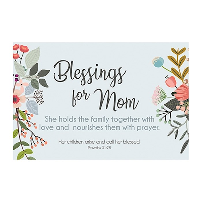 "Cards-Pass It On-Blessings For Mom/Floral (3"" x 2"") (Pack Of 25) 