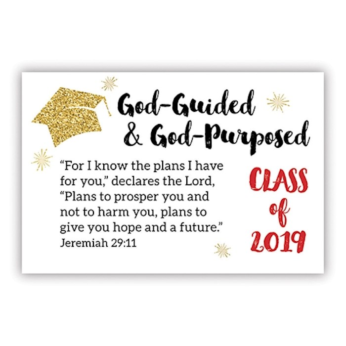 """Cards-Pass It On-God-Guided & God-Purposed-Class Of 2019 (3"""" x 2"""") (Pack Of 25) 