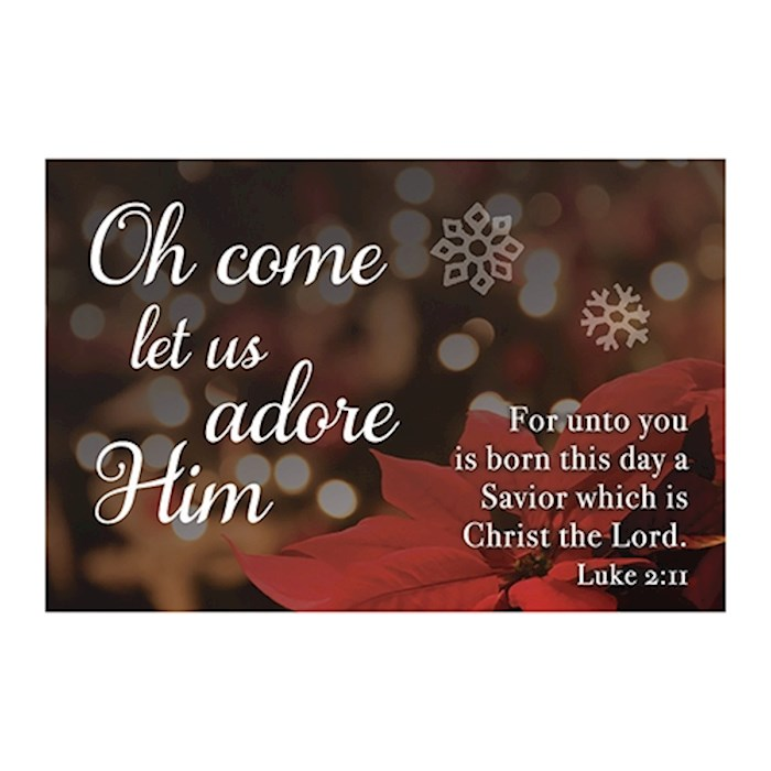"Cards-Pass It On-Oh Come Let Us Adore Him (Poinsettia) (3"" x 2"") (Pack Of 25) 