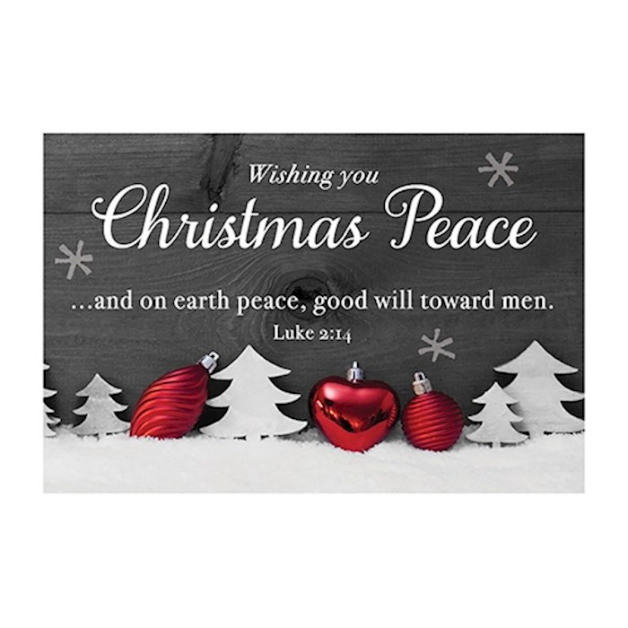 "Cards-Pass It On-Wishing You Christmas Peace (White Trees) (3"" x 2"") (Pack Of 25) 