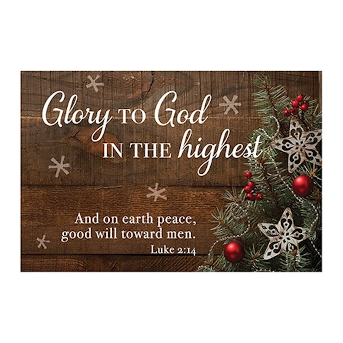 "Cards-Pass It On-Glory To God In The Highest (Christmas Pine) (3"" x 2"") (Pack Of 25) 