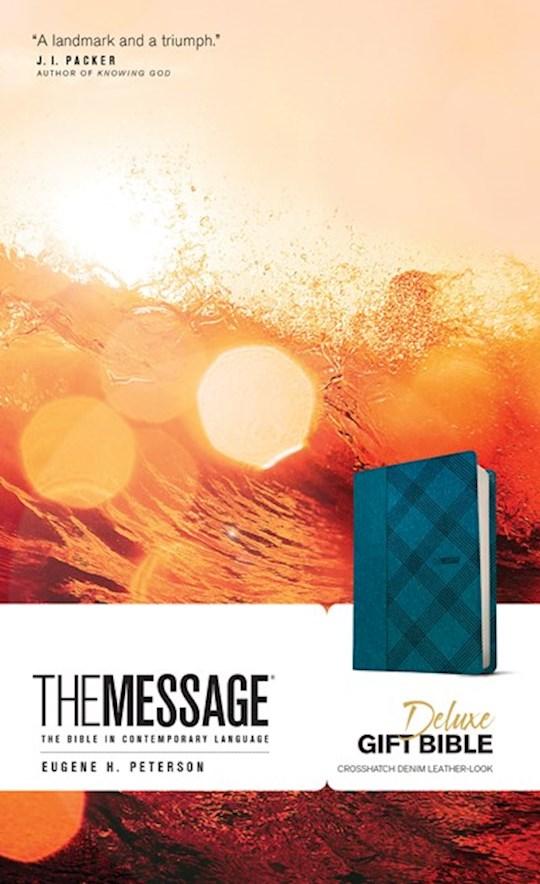 Message Deluxe Gift Bible-Crosshatch Denim LeatherLook | SHOPtheWORD