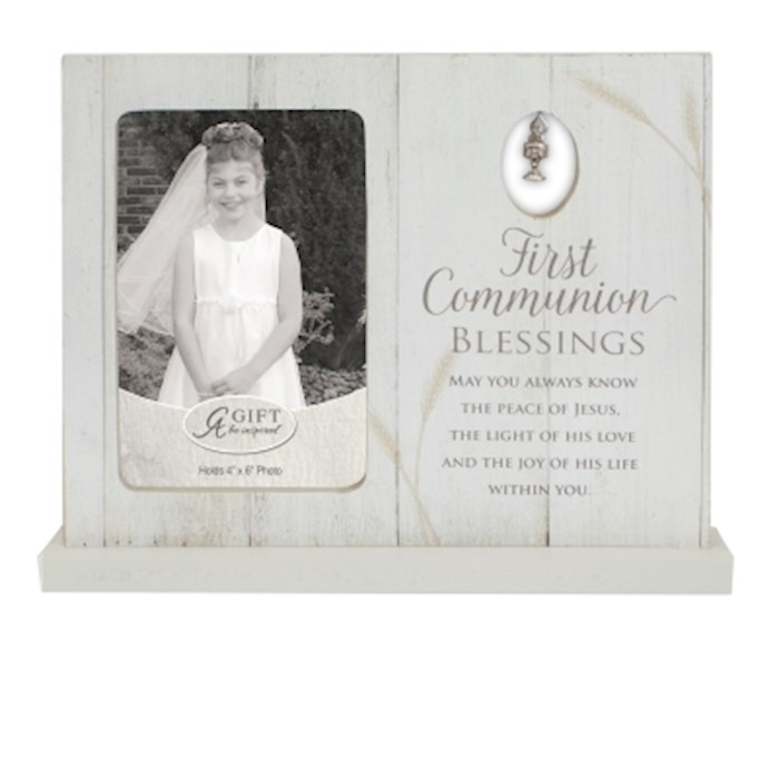 Frame-First Communion Blessings w/Pewter Chalice Charm (Holds 4 x 6 Photo)    SHOPtheWORD