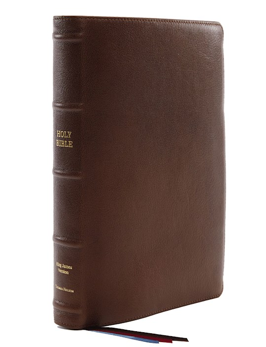 KJV Center-Column Reference Bible/Giant Print (Comfort Print)-Brown Premium Leather | SHOPtheWORD