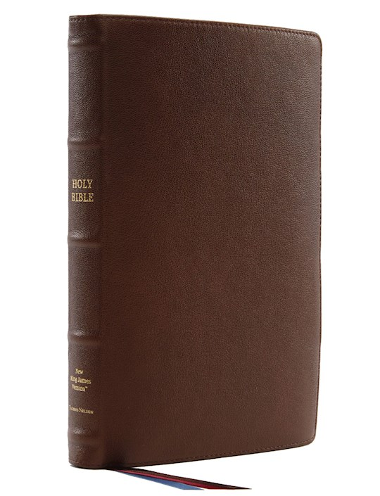 NKJV Thinline Reference Bible/Large Print (Comfort Print)-Brown Premium Leather | SHOPtheWORD