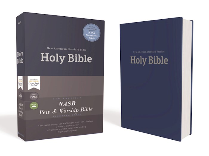 NASB Pew And Worship Bible (Comfort Print)-Blue Hardcover | SHOPtheWORD