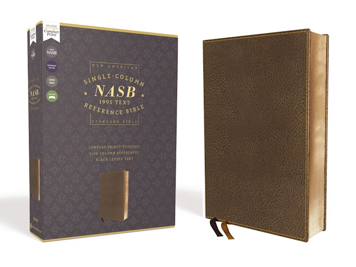 NASB Single-Column Reference Bible (Comfort Print)-Brown Leathersoft | SHOPtheWORD