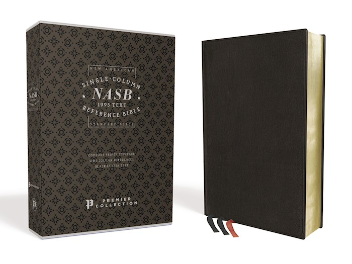 NASB Single-Column Reference Bible (Comfort Print)-Black Premium Leather | SHOPtheWORD