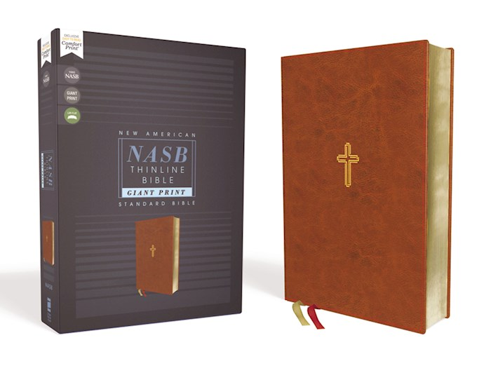 NASB Thinline Bible/Giant Print (Comfort Print)-Brown Leathersoft | SHOPtheWORD