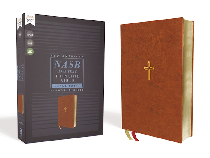 NASB Thinline Bible/Large Print (Comfort Print)-Brown Leathersoft | SHOPtheWORD