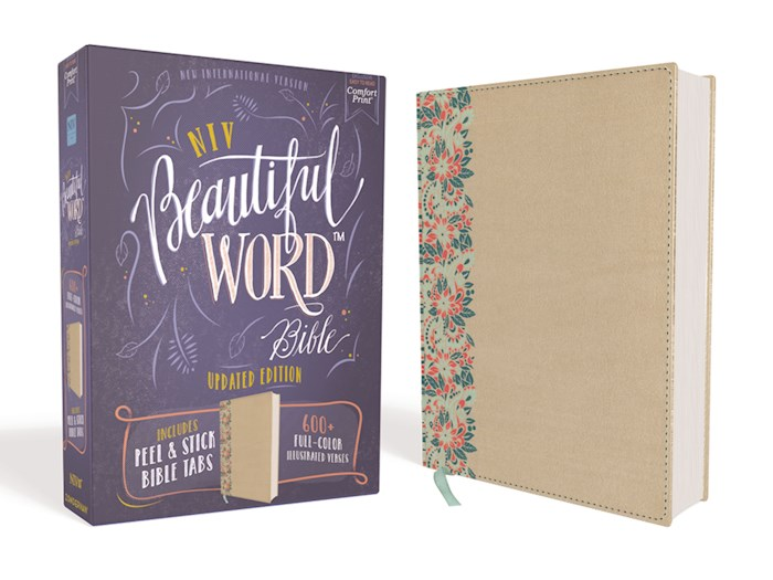 NIV Beautiful Word Bible (Updated Edition)-Gold/Floral Leathersoft   SHOPtheWORD