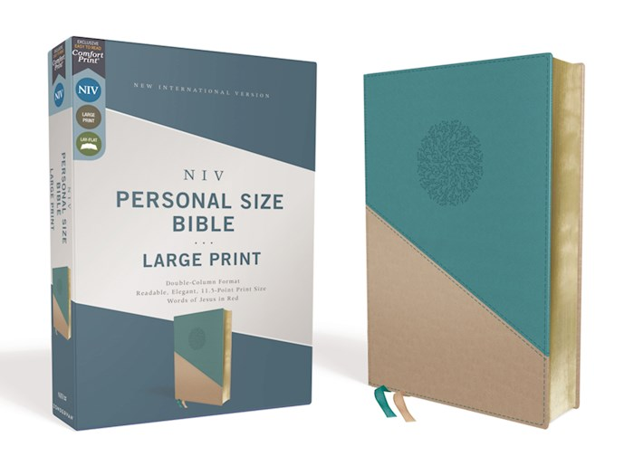 NIV Personal Size Large Print Bible (Comfort Print)-Teal/Gold Leathersoft | SHOPtheWORD