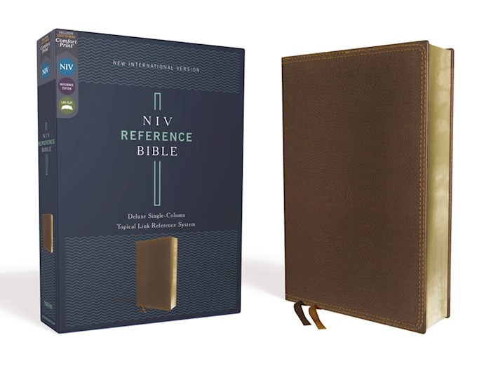 NIV Deluxe Single-Column Reference Bible (Comfort Print)-Brown Leathersoft | SHOPtheWORD