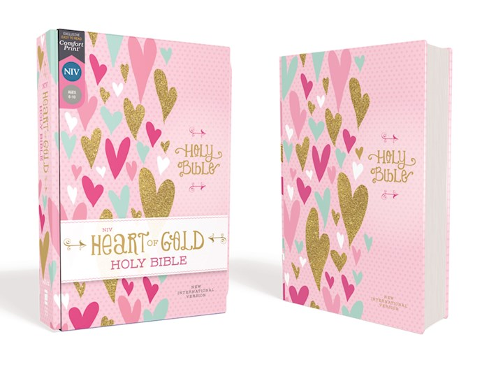 NIV Heart Of Gold Holy Bible (Comfort Print)-Pink Hardcover | SHOPtheWORD