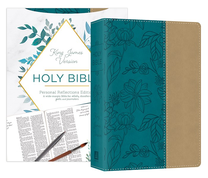 KJV Personal Reflections Bible With Prompts-Teal/Tan DiCarta Leatherlike | SHOPtheWORD