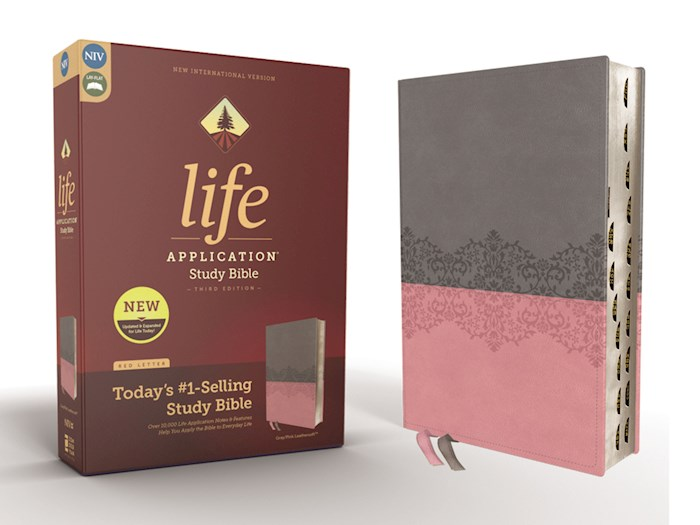 NIV Life Application Study Bible (Third Edition)-Gray/Pink Leathersoft Indexed | SHOPtheWORD