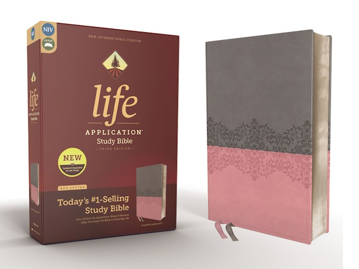 NIV Life Application Study Bible (Third Edition)-Gray/Pink Leathersoft | SHOPtheWORD