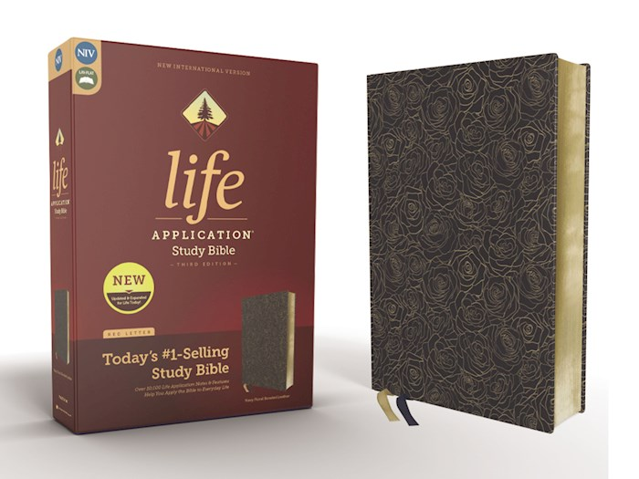 NIV Life Application Study Bible (Third Edition)-Navy Floral Bonded Leather | SHOPtheWORD