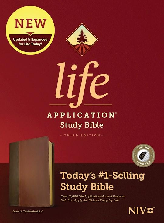 NIV Life Application Study Bible (Third Edition)-Brown/Tan LeatherLike Indexed | SHOPtheWORD