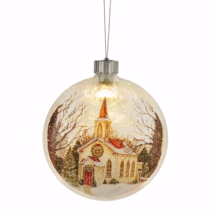 "Ornament-LED Light Up-Church-Disk (5.5"") 