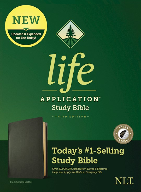 NLT Life Application Study Bible (Third Edition)-Black Genuine Leather Indexed | SHOPtheWORD
