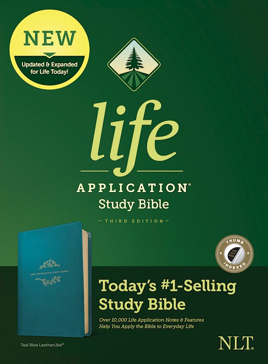 NLT Life Application Study Bible (Third Edition)-Teal Blue LeatherLike Indexed | SHOPtheWORD