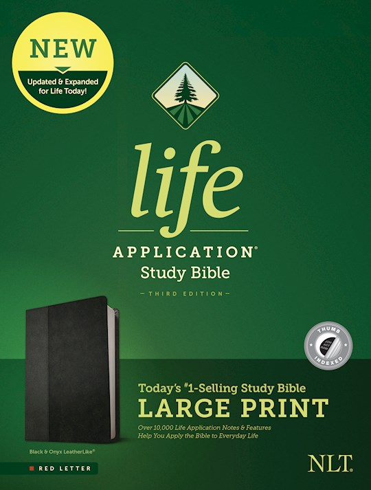 NLT Life Application Study Bible/Large Print (Third Edition) (RL)-Black/Onyx LeatherLike Indexed  | SHOPtheWORD