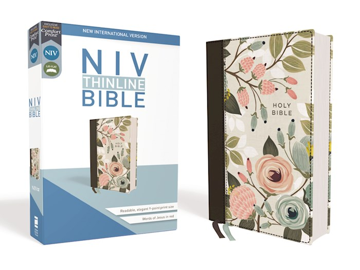 NIV Thinline Bible (Comfort Print)-Floral Cloth Over Board | SHOPtheWORD