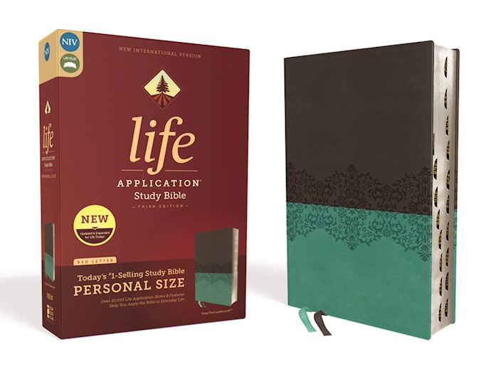 NIV Life Application Study Bible/Personal Size (Third Edition)-Gray/Teal Leathersoft Indexed  | SHOPtheWORD